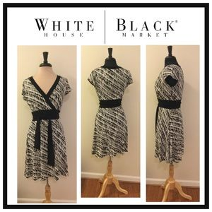 WHBM Black & White Better than a Faux Wrap Dress